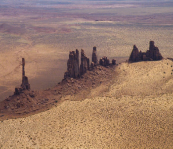 Monument Valley landmarks from the sky