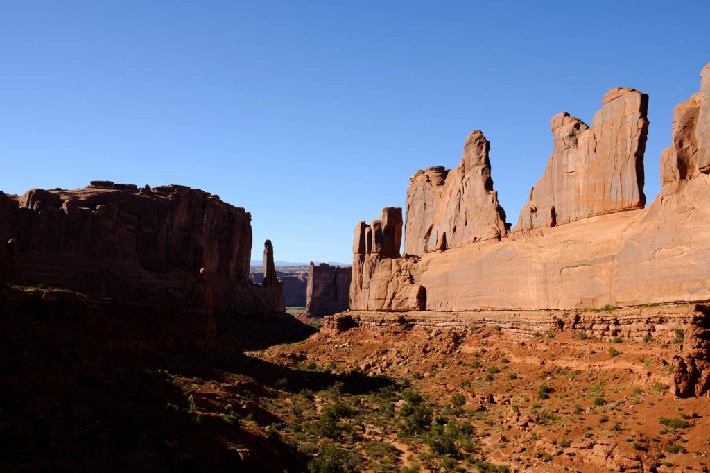 Courthouse towers during hike in Arches National Park tour